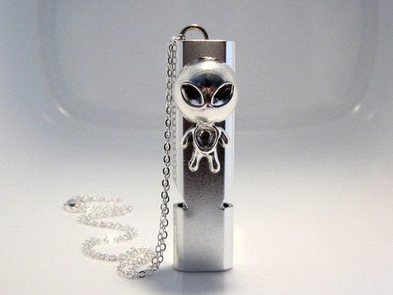 Alien Whistle Necklace, Self Defense Jewelry, Lost Child Safety, Extraterrestrial Keychain, Camping Gear, Outdoor Safety Device