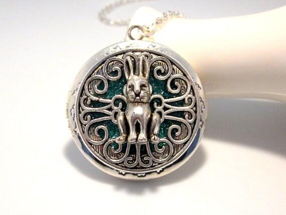Alice in Wonderland Silver Rabbit Locket,