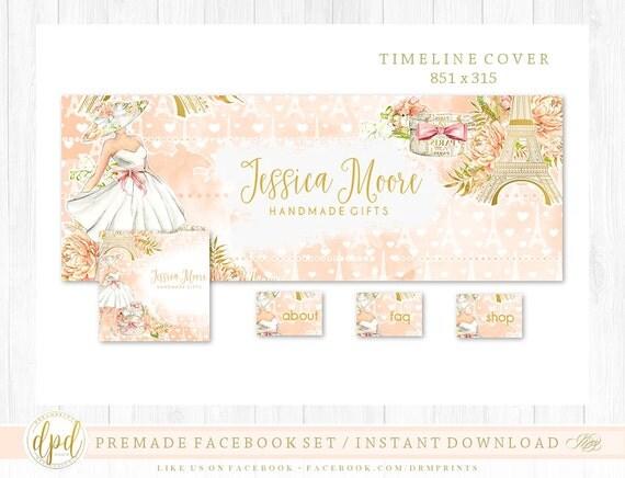 Premade DIY Facebook Set | Facebook Timeline | Facebook Package | Facebook Graphics | Business Branding | INSTANT DOWNLOAD-AA108