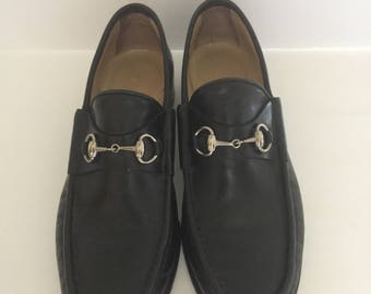 Pair of Vintage Womens Gucci Loafers Black with Silver Horsebit Size 6.5B