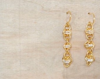 Chainmaille Earrings - Two Tone Earring - Gold and SilverDangle Earrings - Barrel Weave - Organic Design - By BALOOS