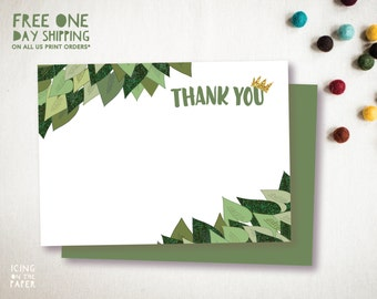 Green Glitter Where the Wild Things Are Thank You Cards