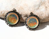 2 handpainted charms - for jewel creations  for earrings necklace or bracelet Poppy In The Sky orange bleu yellow