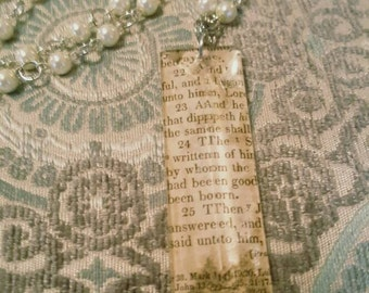 Assemblage Scripture Antique Bible Paper 1860s Chandelier Crystal Pearl Necklace Repurposed Antiques
