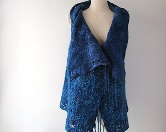 Blue Felted vest, Wool Reversible vest,  one of a kind vest , Lace women jacket , women wool vest lace scarf , warm blue felted tunic