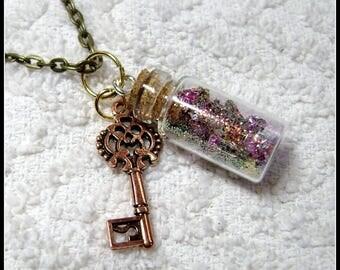 Glass Bottle Necklace - Glass Pendant - My Muse - Glass Bottle Pendant - GB-31