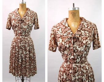 ON SALE Early 1960s Brown Floral Day Dress - Abstract Floral Print - Brown and White - Late 50s Day Dress