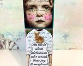 Mixed Media Art Doll, Doll assemblage, Artist Dollie Pops, Art Studio Girls OOAK