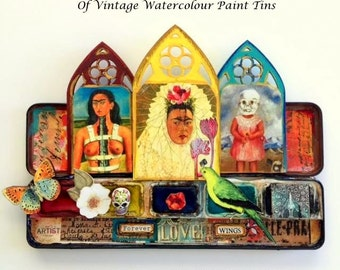 FRIDA KAHLO Collection of Vintage Watercolor Paint Tins, OOAK, Forever Wings, No. 7, Mixed Media, Assemblage,