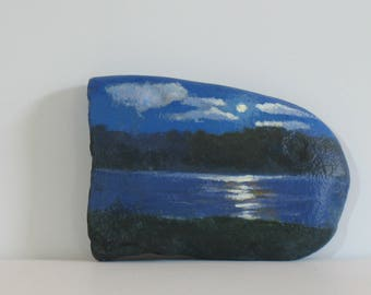 Painted rocks, moon painting, moon over a lake, landscape, nature art, office paperweight, home decoration