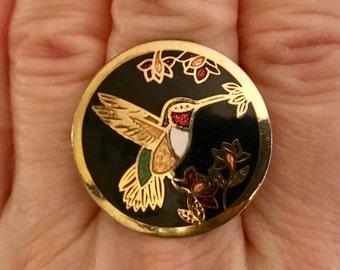 CLOISONNE HUMMINGBIRD RING, Upcycled, Large, Ooak, Repurposed Jewelry, Adjustable Band, Under 10 Dollars