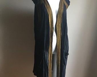 Vintage Rayon Black Beaded Open Kimono •  Open Jacket Kimono