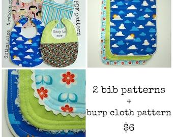 Bib and Burb Cloth pattern, Baby Shower Gift, Newborn Baby pattern, Baby patterns sewing (S114+ S115) - 2 bib patterns + burp cloth pack