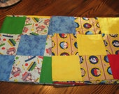 Flannel Receiving Blanket Pieced Blocked Blue Yellow Red Green Pirates Kitty Cats Baby REVERSIBLE