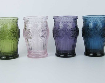 Stunning Heavy Colored Glasses (4) Pink~Green~Blue~Purple Raised Embossed Design