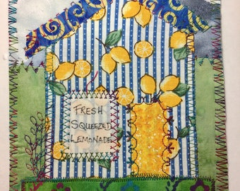 Fresh squeezed Lemonade Store fabric postcard