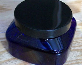 8 ounce Blue PET Square Jars with Black Smooth Plastic Lined Caps, set of 5