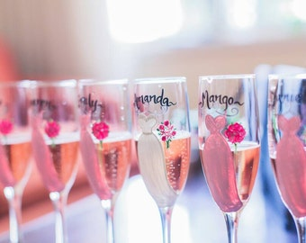 EXACT DRESS REPLICAS, Bridesmaid Gift Ideas, Hand Painted Personalized Champagne Glasses, Dress Wine Glasses, Pink Dresses, Bridal Glassware