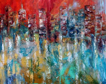 City skyline painting original oil abstract palette knife impressionism on canvas fine art by Karen Tarlton
