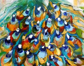 Peacock painting palette knife impressionism original oilon canvas fine art by Karen Tarlton
