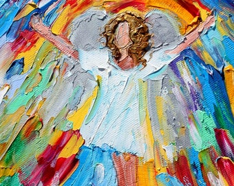 Angel of Happiness painting original oil 6x6 palette knife impressionism on canvas fine art by Karen Tarlton