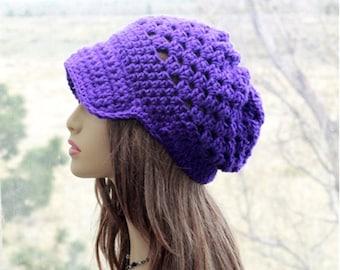 Slouchy Hat  Newsboy Cap brim slouchy hat  teens hippie  beanie, crochet  brim  hat, womens newsboy cap,  Purple, All Season  Hat
