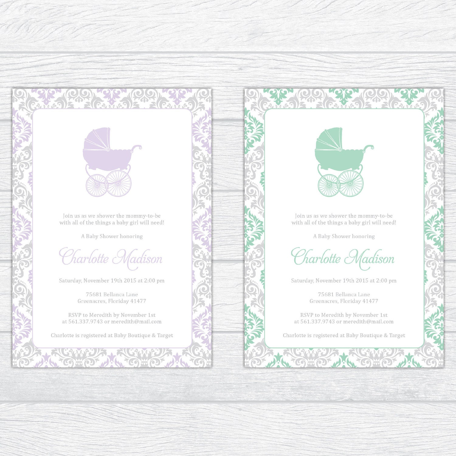 Magnificent Damask Baby Boy Shower Invitation, Personalized Baby ...
