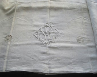 Charming fine French pure linen sheet with SC monogram.  A great tablecloth or curtain.  Interior projects.