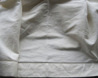 Lovely vintage French linen metis sheet.  AL monogram.  Great tablecloth, curtain or blind fabric.