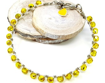 Bright Yellow Beaded Boho Bangle, Summer Beaded Bracelet for Her, Girlfriend Gift Idea for Friends Coworkers, Birthday Present for Sister