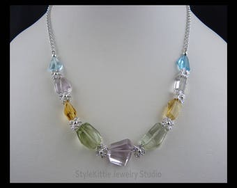Freeform Faceted Nuggets, MultiGemstone, 925 Sterling Silver, Blue Topaz, Pink Amethyst, Prasiolite, Citrine, Necklace, Butterflies, Rolo