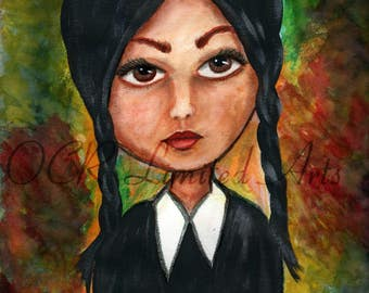 WEDNESDAY Mixed media Art painting Print from Original Portrait Wednesday Adams gothic Emo Goth Girl Home decor Collectible Gift