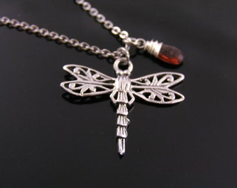 Dragonfly Necklace with Garnet, Garnet Necklace with Dragonfly Pendant, Dragonfly Jewelry, Garnet Jewelry, January Birthstone Necklace, Gift