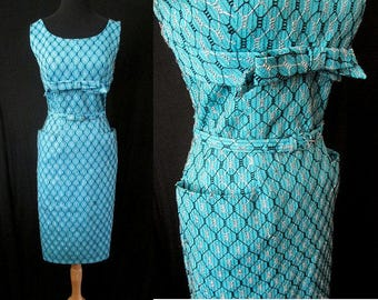Classic 1950's Turquoise Cocktail Party Dress Shelf Bust Silver Lurex Over Stitching VLV Rockabilly Pinup Girl Size-Medium