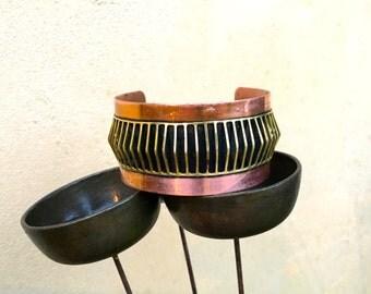 Vintage Copper Cuff Bracelet Cut Brass Window Panes