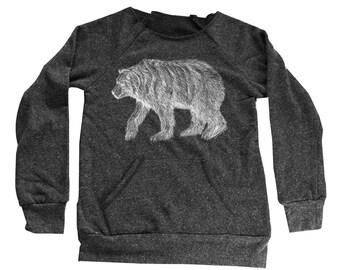 bear Sweater  - Womens grizzly Sweatshirt  - Kangaroo Pocket -  Small, Medium, Large, Extra Large