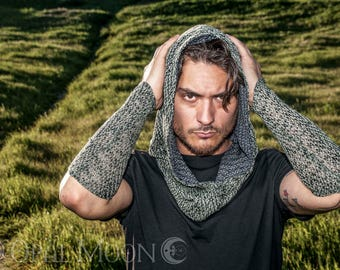NEW The Reversible Cowl Hood Set in Sage/Charcoal Hatchi Knit with Matching Cuffs by Opal Moon Designs (Unisex/ Men's/ One Size)