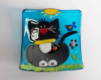 Black Cat // Blue Birds of Happiness // Fused GLass Dish // Fun // Whimsical // Colorful  //  Trinket // Rings // Bright // Small // Flower