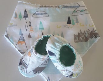 Bandanna and shoe set, baby shower gift