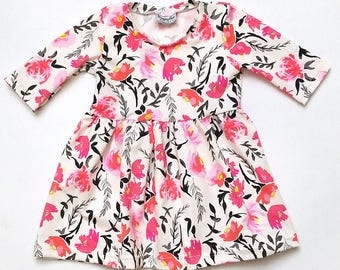 Play Dress | Watercolor Flora | Sizes 3 Months to 7/8 | 2 Sleeve Options | Floral dress, Flowers, striped dress, baby girl dress