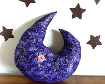 moon pillow, moon decor, moon plush, stuffed moon, crescent moon, nursery