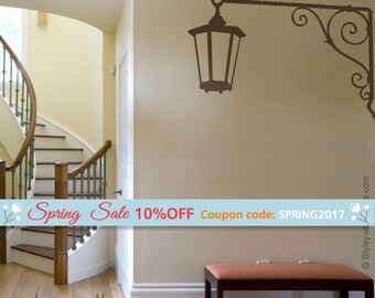 Street Lamp Wall Decal, Corner Lamp Wall Sticker, Street Lamp Vinyl Wall Decal, Hallway Wall Decal, Entrance Wall Decor, Home Wall Decal