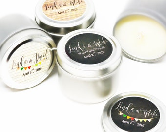 100 Wedding Favors Soy Candles in 2 Oz.Travel Tin with Personalized Label