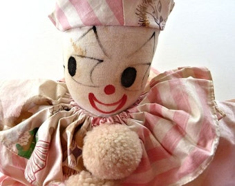 Vintage 1940s Clown Doll Sock Budget Guaranteed Label Painted Face Pink White Stripe Cotton Pompoms 23""