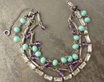 Multi Chain Rhinestone Bracelet with Upcycle Link chain, Turquoise Rosary Beads, and Purple Bead Dangles, Upcycle Rhinestone Bracelet