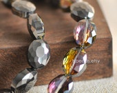 Oval Crystal Glass Faceted beads 16mm Sparkly Black Rose- (TS56-8)/ 48pcs