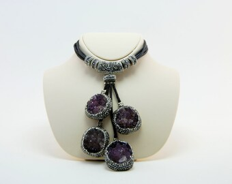 Amethyst Druzy Gemstone,  Swarovski Crystal, Sterling Silver, Druzy Necklace