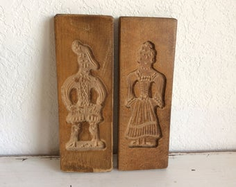 Vintage Springerle Cookie Molds Man and Woman