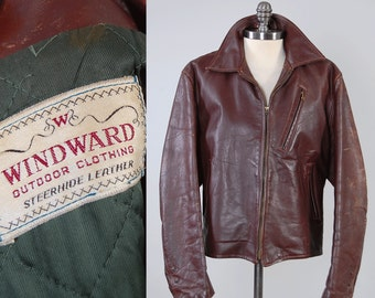 Vintage 40s WINDWARD steer hide leather jacket / Green nylon quilted lining / Beautiful patina / Steerhide motorcycle jacket