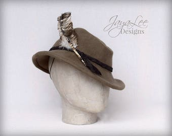Wool Felt Fedora Tilt Hat Brown with Goose Feather